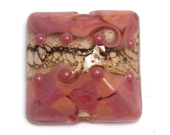 Pink/Soft Orange Pillow Focal Bead - Handmade Glass Lampwork Bead 11816404