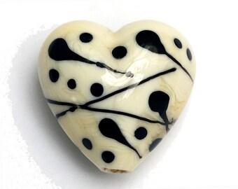 Ivory w/Black Heart -11812705-Handmade Glass Lampwork Bead