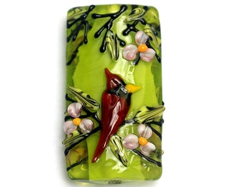Spring Red Cardinal Kalera Focal Bead 11834403 - Handmade Glass Lampwork Bead