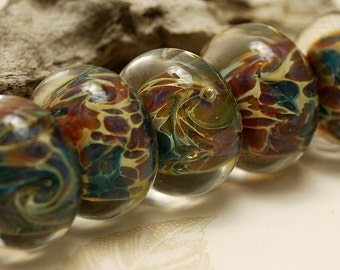 Handmade Glass Lampwork Bead Set - Six Green w/Mutiple Color Rondelle Beads 10601901