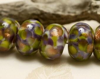 Seven Wisteria Garden Rondelle Beads - Handmade Glass Lampwork Bead Set 10603401