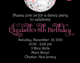 diva dance party disco ball custom digital birthday invitation print yourself