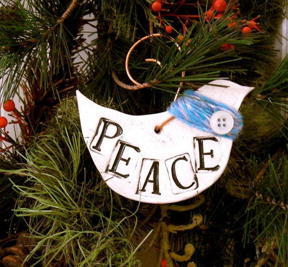 Peace Dove Ceramic Ornament - HandMade Rustic Letterpress Stamped PeAcE Bird, Turquoise Scarf Eco Tree Hanging - Christmas Holidays, Anytime