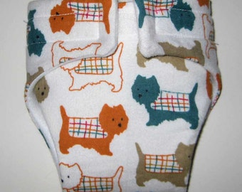 Baby Doll  Cloth Diaper/Wipe-Sweet Dogs-Fits Baby Alive, Bitty Baby, Cabbage Patch Dolls and More