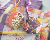 Large Purple Orange Gold Japanese Blossom Floral Flower Hair Ponytail Holder Ties, Women Hair Accessoires