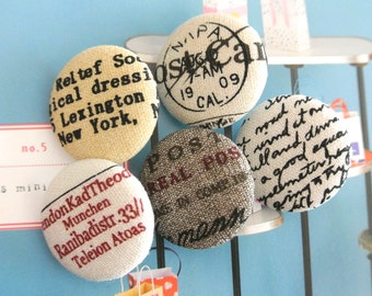 """Handmade Vintage Retro Gray Cream Postal Airmail Script Words Stamps Fabric Covered Buttons, Vacation Fridge Magnets, Flat Back 1.2"""" 5's"""