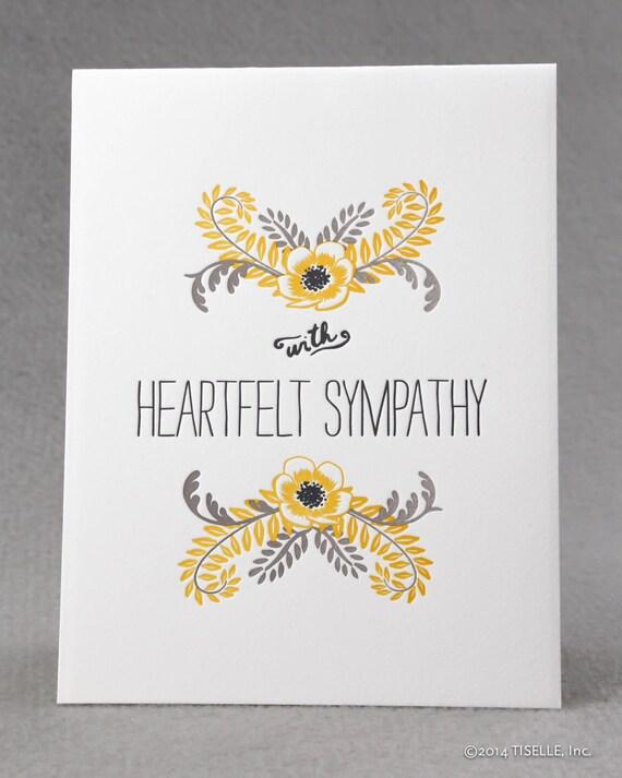 Letterpress Sympathy Card, Heartfelt Sympathy
