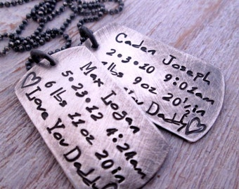 Father's Necklace - Dog Tag Necklace II - personalized dog tag necklace