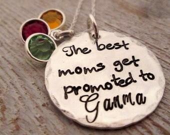Grandma Necklace - The best moms get promoted - Birthstone Necklace - Personalized Necklace - Grandma Gift - Custom Grandma Necklace