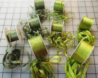 Three sizes of green silk ribbon 40 yards 2mm, 4mm, 7mm
