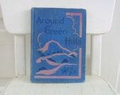 Vintage Child Book Reader School Around Green Hills Retro