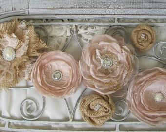 Burlap Cake Flowers, Fabric Cake Flowers, Burlap Cake top, Burlap Wedding, Rustic Cake flowers, Rustic Cake top, Cake Decor, Set of 6