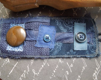 Navy Blue Textile Wrist Cuff with Large Brown Button
