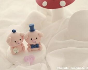 Piggy and Piglet bride and groom wedding cake topper---k714