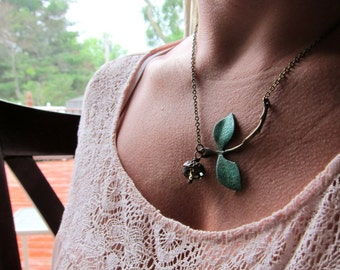 Organic stem and leaf acorn necklace, acorn charm, green vertigris leaves, branch jewelry, asymmetrical