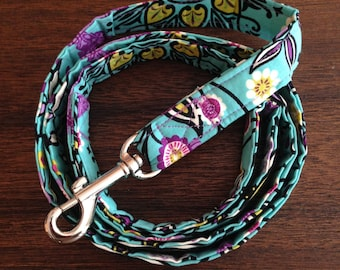 Purple and Teal Floral Dog Leash