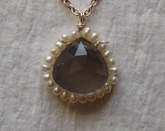 Grey moonstone and pearl drop necklace - jewelry by jackie