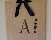 Monogram magnet memo board on burlap. Like a bulletin board. But way cuter.