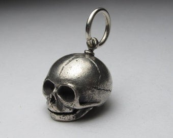 silver embryo skull large solid sterling silver
