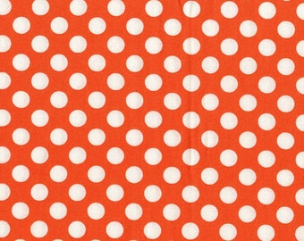 Orange Tangerine Ta Dot from Michael Miller Fabrics - white dots on orange  1/2 yard