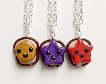 3 Best Friend Necklaces Peanut Butter Strawberry and Grape Jelly Necklaces, BFF Gift, BFF Necklaces, Novelty Gift