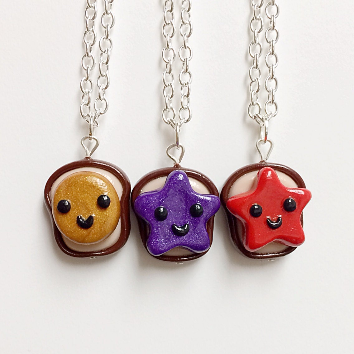 3 best friend necklaces peanut butter strawberry and grape