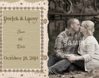 Burlap-look Photo Save the Date