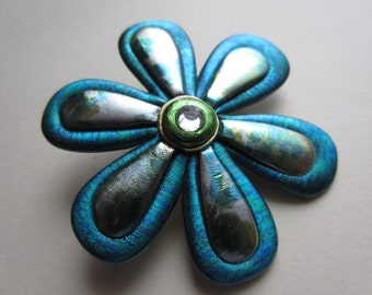Whimsical teal and silver Flower Pin Brooch