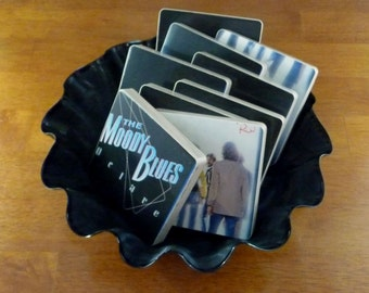 Moody Blues recycled Octave album art coasters and wacky record bowl