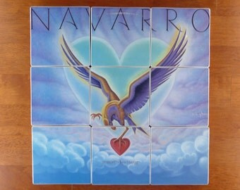 Navarro recycled Straight to the Heart music album wood coasters and record bowl great gift idea