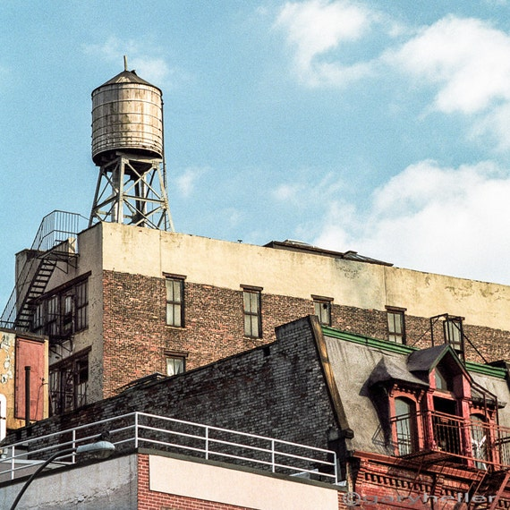 New York water tower 2 - Square format photograph of water tower on old building in the lower East side of manhattan. signed print.