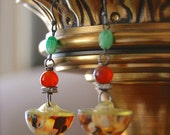 Confetti-Antique Vintage Retro Celluloid Confetti Bubble Assemblage Earrings