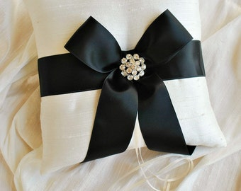 Black and White Ring Bearer Pillow - Silk Ring Bearer Pillow