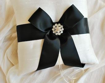 Black and White Ring Bearer Pillow - Silk Ring Bearer Pillow