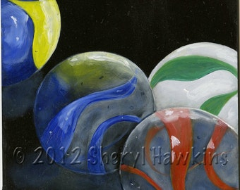 Marbles Still Life Painting- oil painting on masonite panel, marbles, marble painting, original oil painting