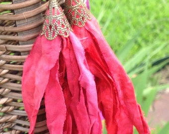 Red Silk Sari Ribbon Tassel Boho Dangles  Hand forged Ear Wires
