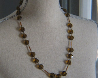 Clear Brown Plastic Faceted Beaded Vintage Necklace