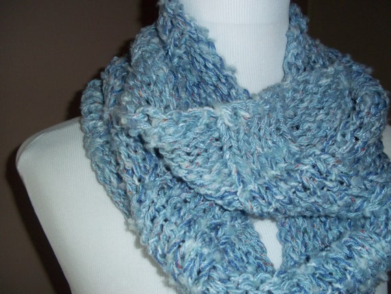 Wool Blend Hand Knit Infinity Circular Scarf for Everyday Wear, Womens soft Cowl Fashion Scarf Accessory in blue colors stylish winter scarf