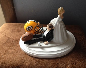 Green Bay packers Wedding Cake Topper Bridal Funny Football  team Football Themed with matching garter Hair color changed for free