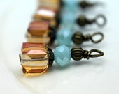 Golden Citrine Faceted Square Cube and Opaque Blue Crystal Bead Dangle Set