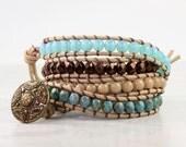 Cream Wrap Bracelet Bronze Wrap Bohemian Jewelry Boho Wrap Bracelet Turquoise Boho Hippie Jewelry Suede Wrap Bracelet Aqua Rustic Jewelry