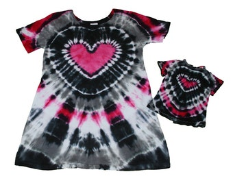Girl and Doll Tie Dye Heart Dress in Black, Gray and Hot Pink- Fits 15 to 18 Inch Dolls