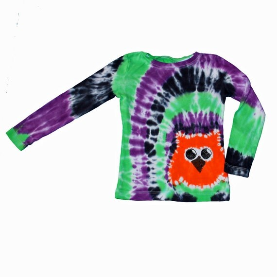 Tie Dye Shirt in Purple, Lime and Black with an Orange Owl- size XS ready to ship