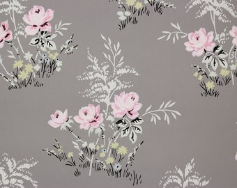 1940s Vintage Wallpaper Pink Rose Bouquets on Gray by the Yard