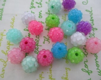 Resin Rhinestone Raspberry beads 18pcs 12mm x 10mm Mix 9 colors