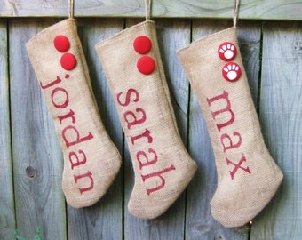 Custom Personalized Burlap Christmas Holiday Stockings with Buttons