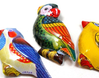 3 Tin Toy BIRD pins, 1960s Japanese costume jewelry with parrot, parakeet, finch.