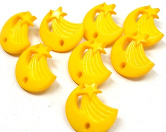 8 Star & Moon BUTTONS, Yellow plastic with shooting star, celestial design.