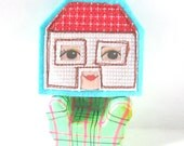 Felt Pin Wearable Art Free motion embroidery - Dolls House Brooch