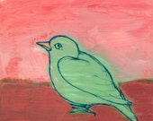 Green Bird on pinks - original painting, small painting, one of a kind art by Irene Stapleford - wantknot shop